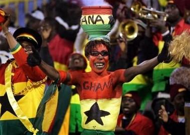 Ghanese fan tijdens Africa Cup