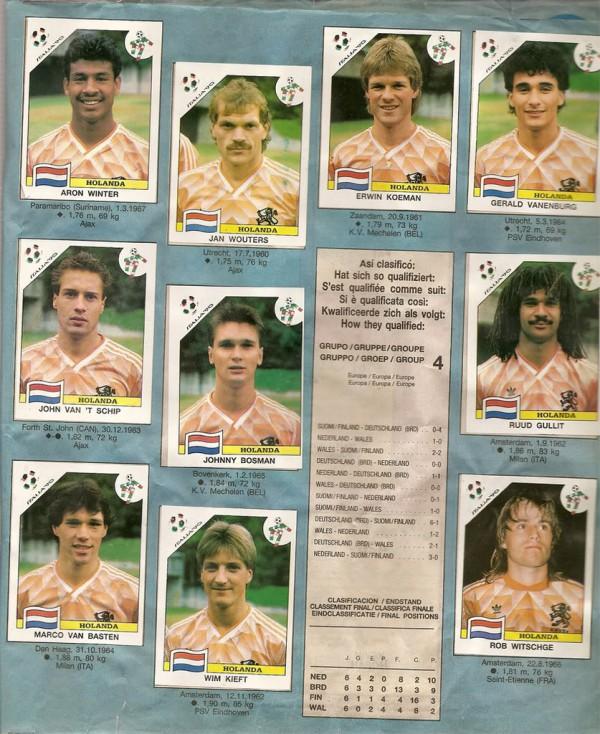 Voetbalplaatjes van Nederlands Elftal WK1990