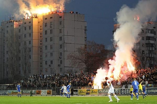 Tifo actie van Oekraiense supporters
