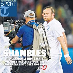 Engelse krantenkop over voetbal